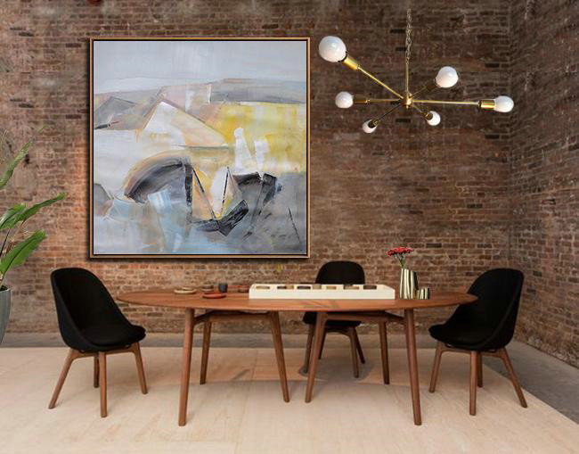 Modern Art Photography,Large Abstract Art,Oversized Palette Knife Painting Contemporary Art On Canvas,Pop Art Canvas,Gray,Yellow,Blue.etc