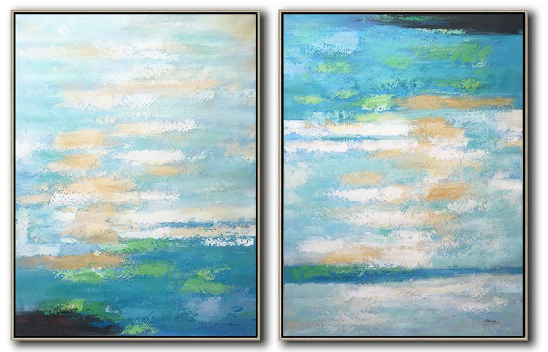 Creative Abstract Painting,Large Abstract Art,Set Of 2 Abstract Painting On Canvas,Living Room Wall Art,Blue,Yellow,Green.etc