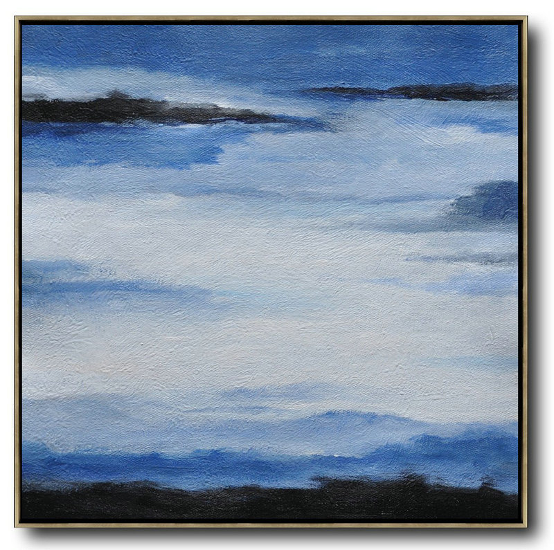 Acrylic Paint,Handmade Large Contemporary Art,Oversized Abstract Landscape Painting,Modern Wall Art,Black,Blue,White.etc