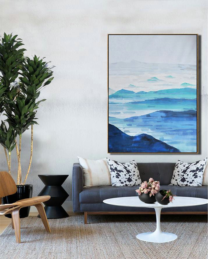 Landscape Art Paintings,Large Abstract Art,Oversized Abstract Landscape Painting,Acrylic Painting On Canvas,Grey,White,Dark Blue,Blue.etc