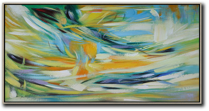 Describe Abstract Art,Extra Large Canvas Art,Horizontal Palette Knife Contemporary Art,Contemporary Wall Art,Yellow,Blue,White,Green.etc