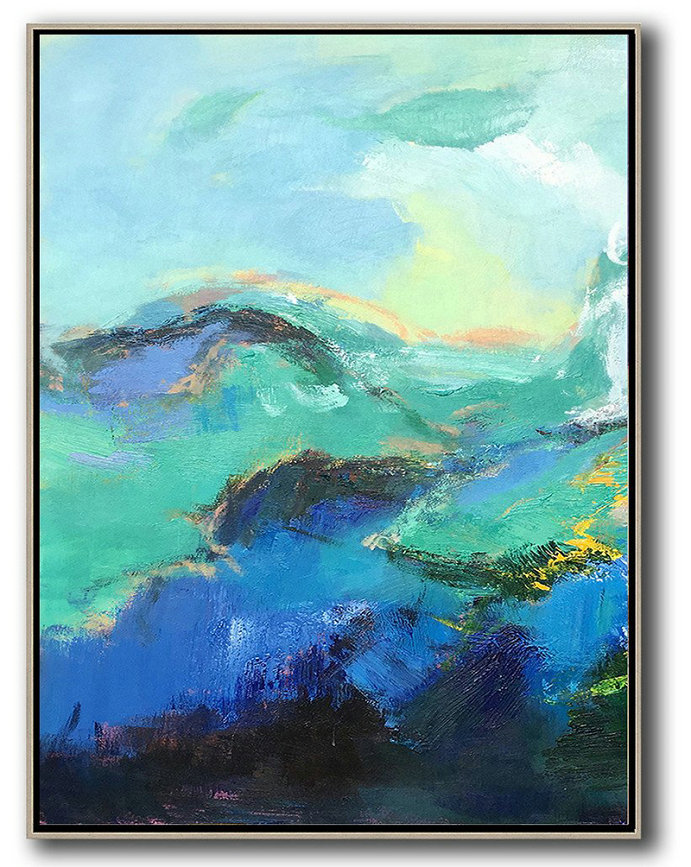 Oil Paintings For Sale Cheap,Abstract Painting Extra Large Canvas Art,Vertical Palette Knife Contemporary Art,Large Colorful Wall Art,Blue,Green,Black.etc