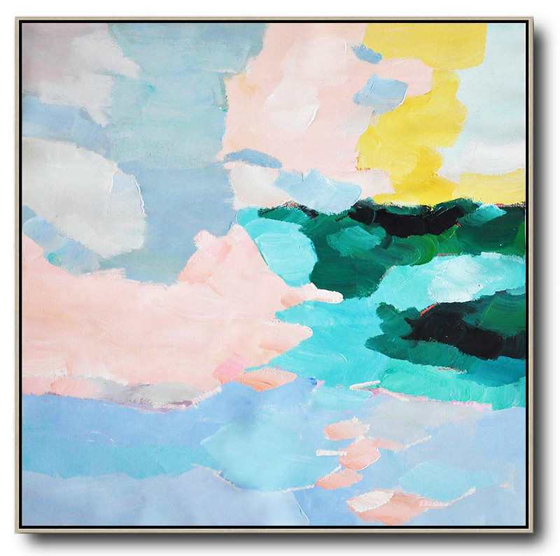 Abstract Art On Wall,Oversized Canvas Art On Canvas,Oversized Abstract Art,Unique Canvas Art,Blue,Green,Pink,Yellow.etc