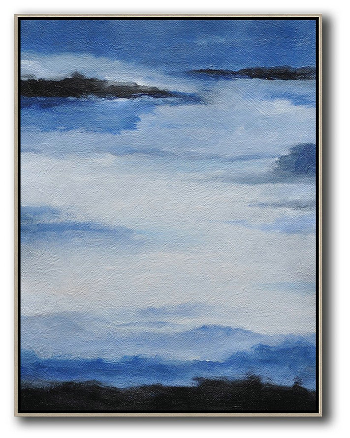 Art For Sale,Handmade Painting Large Abstract Art,Oversized Abstract Landscape Painting,Oversized Canvas Art,Blue,White,Black.etc