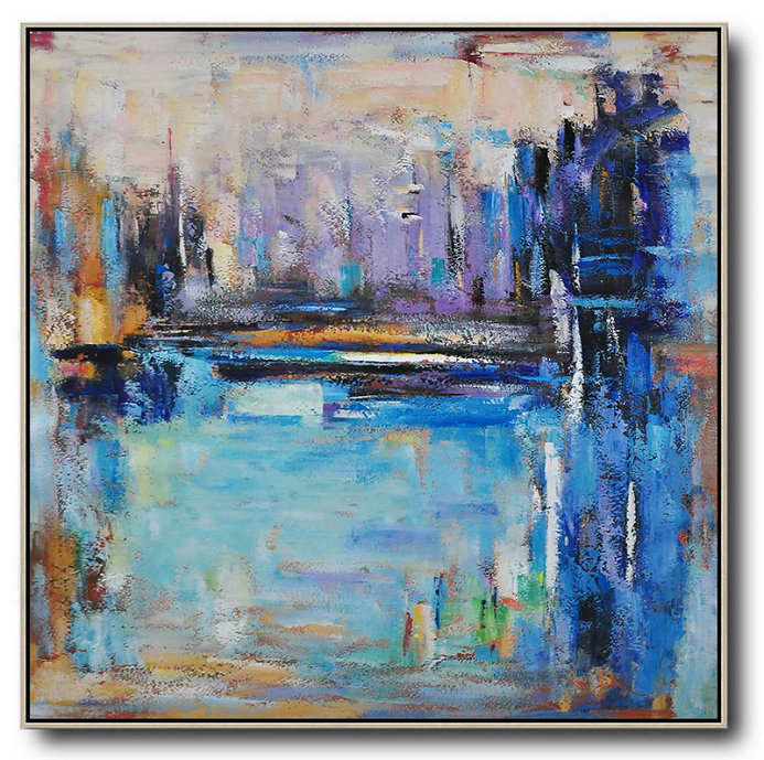 Contemporary Fine Arts,Handmade Large Painting,Oversized Abstract Landscape Painting,Acrylic Painting On Canvas,Purple,Blue,Yellow.etc