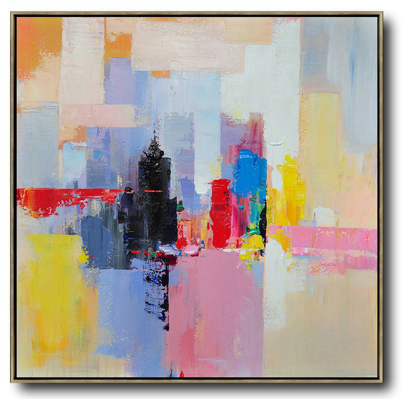Cheap Art,Large Abstract Painting On Canvas,Oversized Palette Knife Painting Contemporary Art On Canvas,Modern Paintings On Canvas,White,Red,Black,Blue.etc
