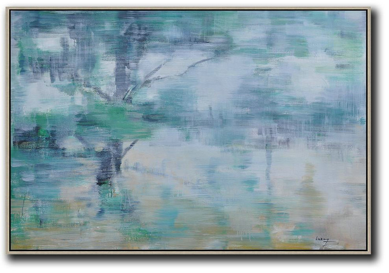 Abstarct Artists,Original Artwork Extra Large Abstract Painting,Horizontal Abstract Landscape Oil Painting On Canvas,Big Painting,Grey,Green,Yellow.etc