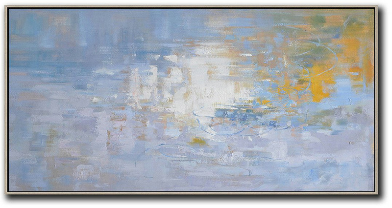 Art Prints And Posters,Large Contemporary Art Acrylic Painting,Panoramic Abstract Landscape Painting,Acrylic Painting Large Wall Art,Light Blue,Yellow,White.etc