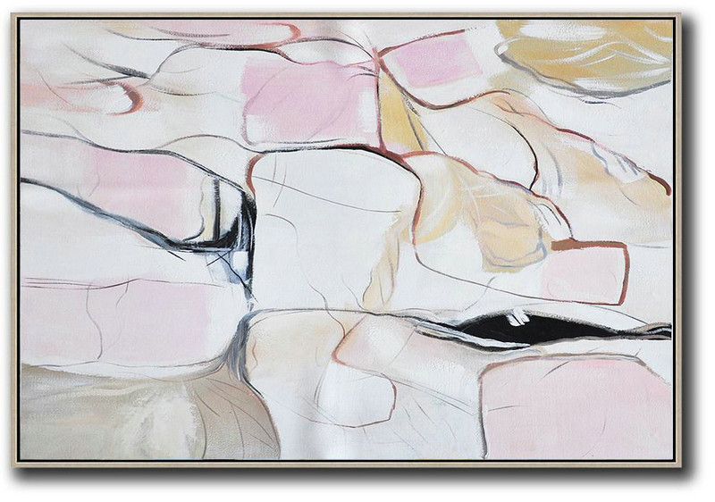 Abstract Art Information,Large Abstract Painting On Canvas,Oversized Horizontal Contemporary Art,Large Wall Art Home Decor,White,Pink,Yellow,Grey.etc
