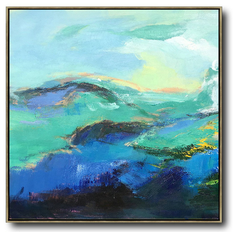 Abstract Contemporary Art Paintings,Handmade Large Contemporary Art,Oversized Palette Knife Painting Abstract Landscape Art On Canvas,Original Modern Art,Large Wall Art Handmade,Blue,Green,Black.etc