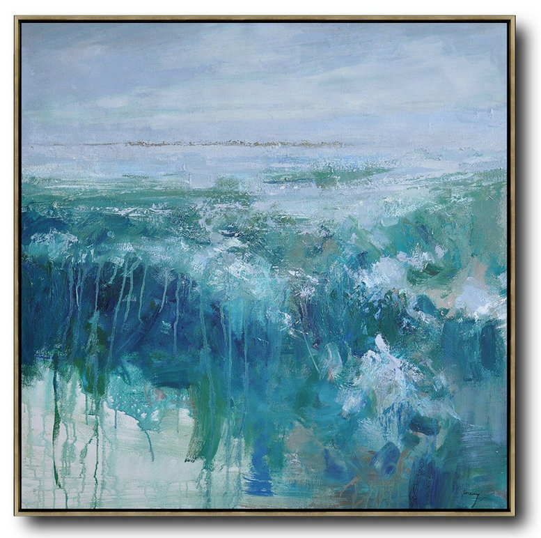 Types Of Abstract Art,Huge Abstract Painting On Canvas,Oversized Abstract Landscape Oil Painting,Hand Paint Large Art,Blue,Green,Gray.etc