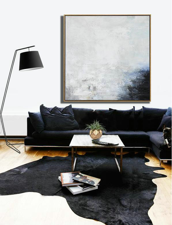 "Giant Big Canvas,Extra Large 72"" Acrylic Painting,Oversized Abstract Painting,Abstract Art On Canvas, Modern Art,White,Gray,Black.etc"