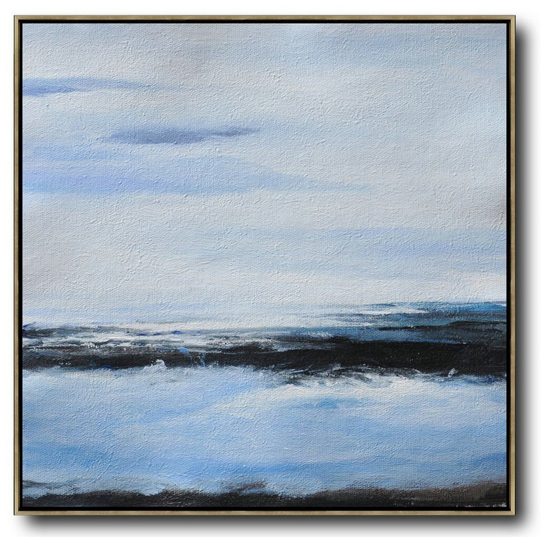 Abstract Colour Artists,Extra Large Canvas Art,Oversized Abstract Landscape Painting,Art Work,White,Blue,Black.etc
