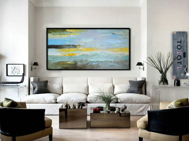 Abstract Art Series,Handmade Extra Large Contemporary Painting,Horizontal Palette Knife Contemporary Art,Large Paintings For Living Room,Yellow,Grey,Purple.etc