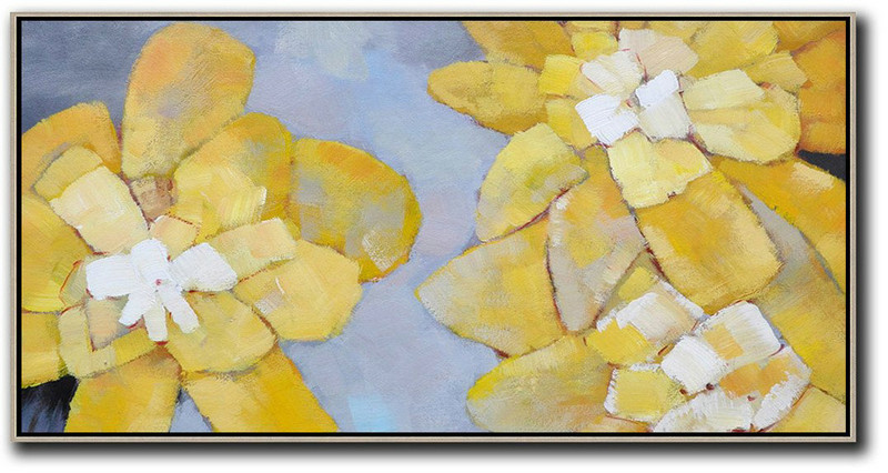 Large Canvas Oil Paintings Sale,Extra Large Abstract Painting On Canvas,Horizontal Palette Knife Contemporary Art,Extra Large Canvas Painting,Dusty Blue,Yellow,White.etc