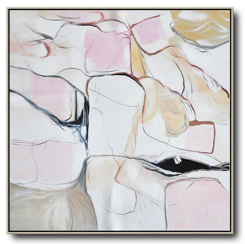 Gold Abstract Painting,Extra Large Acrylic Painting On Canvas,Oversized Abstract Painting,Modern Canvas Art,White,Pink,Yellow,Gray.etc