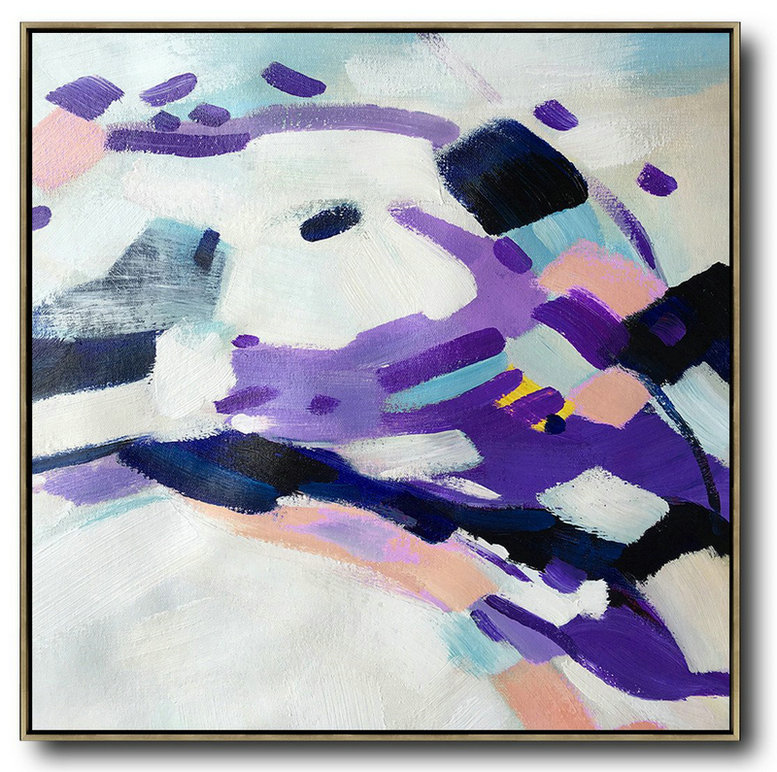 Abstract Art Black,Handmade Extra Large Contemporary Painting,Oversized Contemporary Art,Large Living Room Wall Decor,White,Purple,Pink,Black.etc
