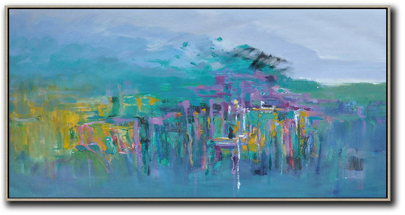 Simple Modern Abstract Paintings,Large Abstract Painting Canvas Art,Panoramic Abstract Landscape Painting,Modern Art Abstract Painting,Blue,Yellow,Purple,Green.etc