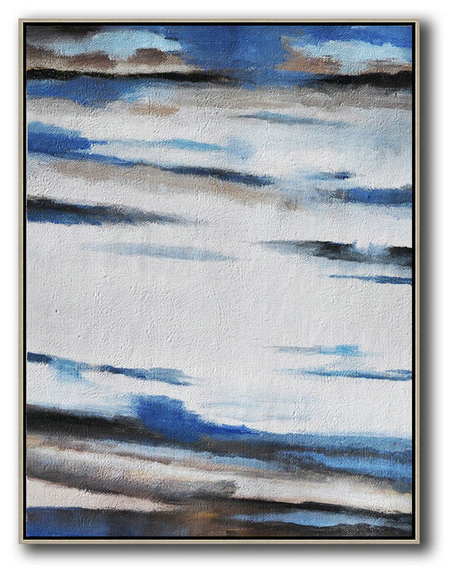 Abstract Beautiful Paintings,Large Abstract Art,Oversized Abstract Landscape Painting,Acrylic Minimailist Painting,Blue,White,Grey,Brown.etc