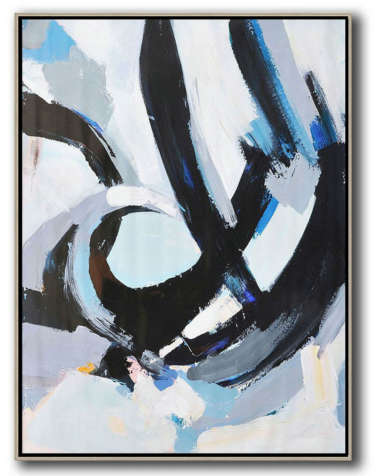 Art Prints For Sale,Huge Abstract Painting On Canvas,Vertical Palette Knife Contemporary Art,Huge Canvas Art On Canvas,White,Black,Blue.etc