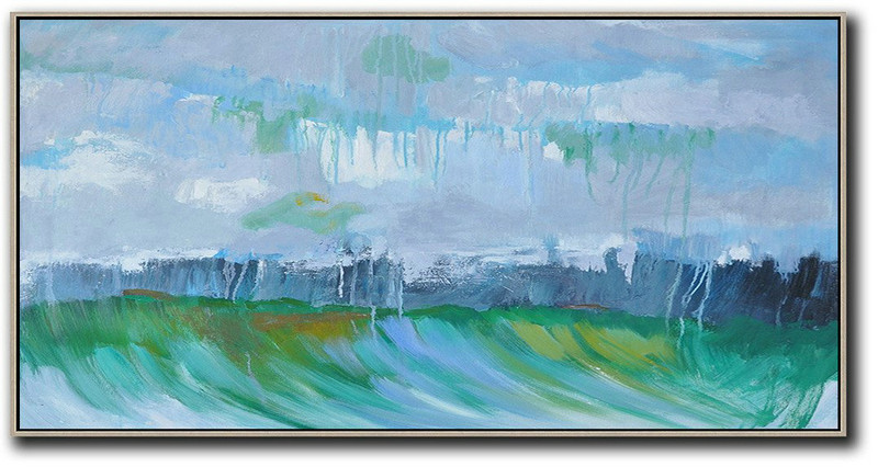 Art Gallery Prints,Extra Large Painting,Panoramic Abstract Landscape Painting,Extra Large Wall Art,Grey,Dark Blue,Green.etc