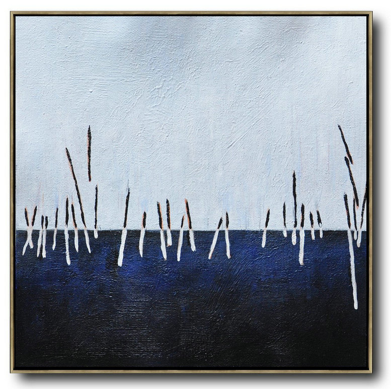 Black Abstract Artists,Large Contemporary Art Acrylic Painting,Oversized Abstract Landscape Painting,Artwork For Sale,White,Dark Blue,Black.etc