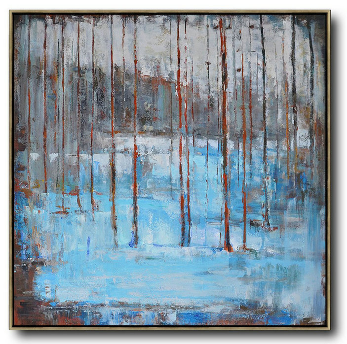 Original Abstract Canvas Art,Large Abstract Art Handmade Oil Painting,Oversized Abstract Landscape Oil Painting,Extra Large Canvas Painting,Blue,Gray,Red.etc - Click Image to Close