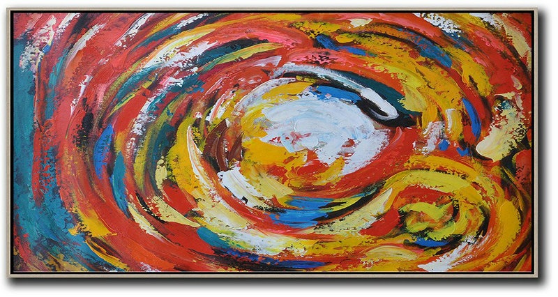 About Abstract Art,Large Abstract Painting On Canvas,Horizontal Palette Knife Abstract Flower Art,Modern Abstract Wall Art,White,Red,Yellow,Blue.etc