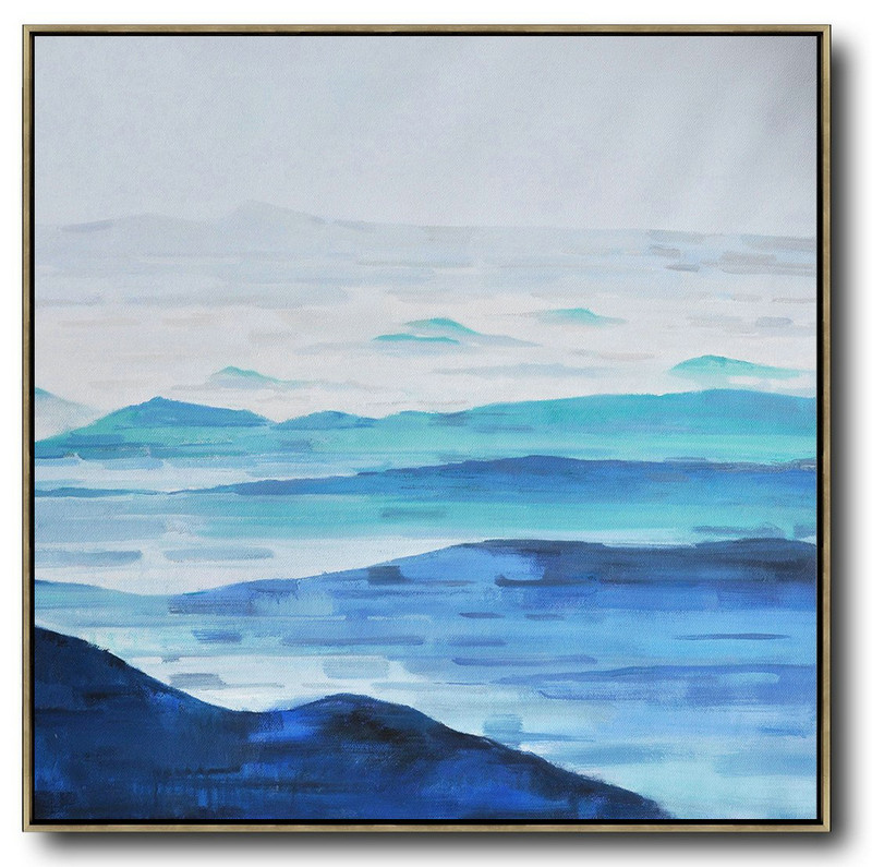 Abstract Art Pics,Handmade Large Contemporary Art,Oversized Abstract Landscape Oil Painting,Large Canvas Art,Blue,Gray,White.etc