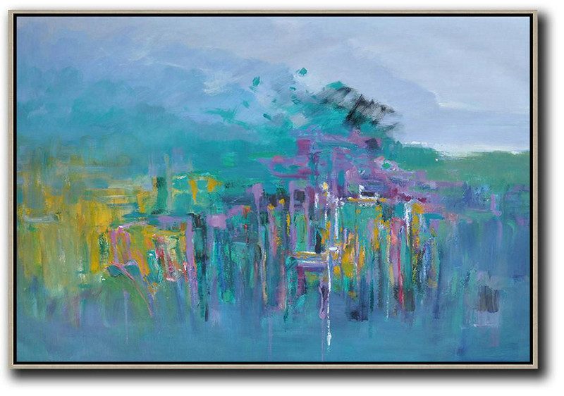 Pop Art Painting,Large Abstract Art,Horizontal Abstract Landscape Oil Painting On Canvas,Colorful Wall Art,Blue,Yellow,Grey,Purple.etc