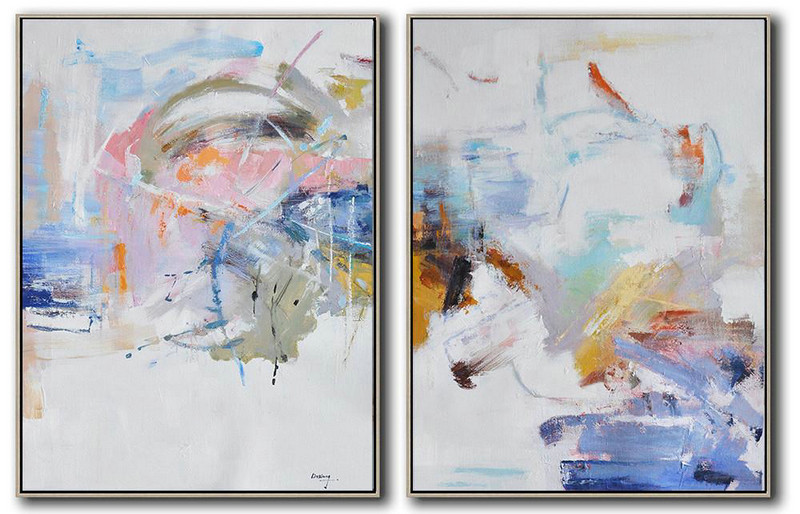Canvas Art Paintings Abstract,Large Abstract Art,Set Of 2 Abstract Oil Painting On Canvas,Oversized Canvas Art,White,Grey,Yellow,Pink,Orange.etc