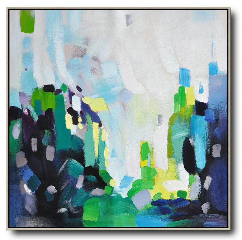 Oil Paintings For Sale,Extra Large Canvas Art,Oversized Abstract Art,Large Wall Art Canvas,White,Green,Black,Yellow.etc