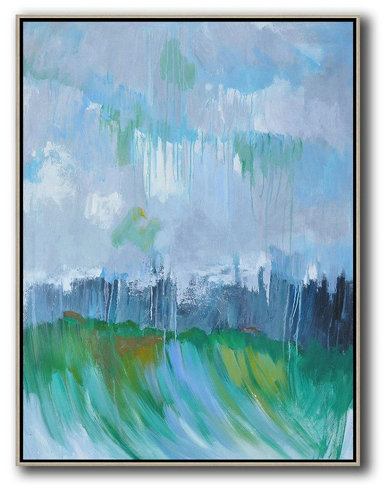 Abstract Canvas Paintings For Sale,Abstract Painting Extra Large Canvas Art,Oversized Abstract Landscape Painting,Large Abstract Wall Art,Violet Ash,Dark Blue,Green .etc