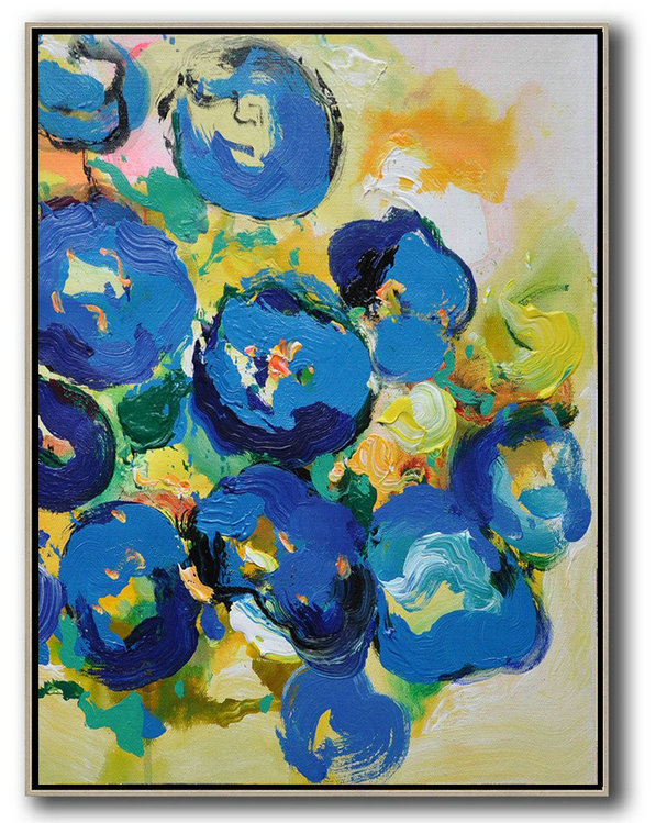 Oil On Canvas Abstract Art,Large Abstract Art,Vertical Palette Knife Contemporary Art,Hand Paint Large Clean Modern Art,Yellow,Blue,Pink,Green.etc