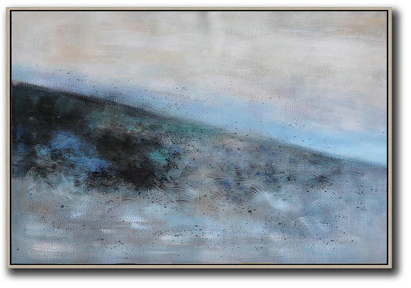 Fine Art Collection,Handmade Large Contemporary Art,Oversized Horizontal Contemporary Art,Hand Paint Abstract Painting,Grey,Blue,Black.etc