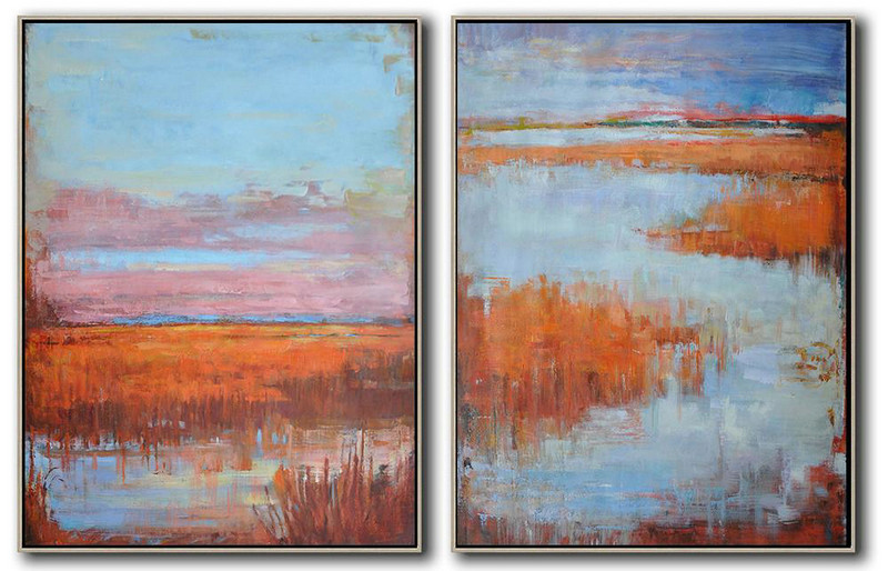 Abstract Art Form,Handmade Painting Large Abstract Art,Set Of 2 Abstract Landscape Painting On Canvas,Modern Wall Decor,Blue,Pink,Earthy Yellow.etc