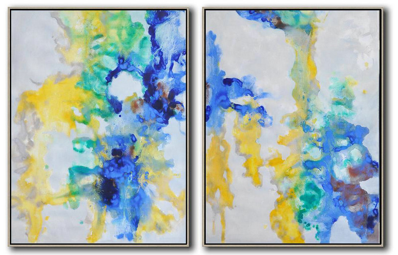 Abstract Work,Large Modern Abstract Painting,Set Of 2 Abstract Oil Painting On Canvas,Contemporary Wall Art,Grey,Yellow,Blue,Green.etc