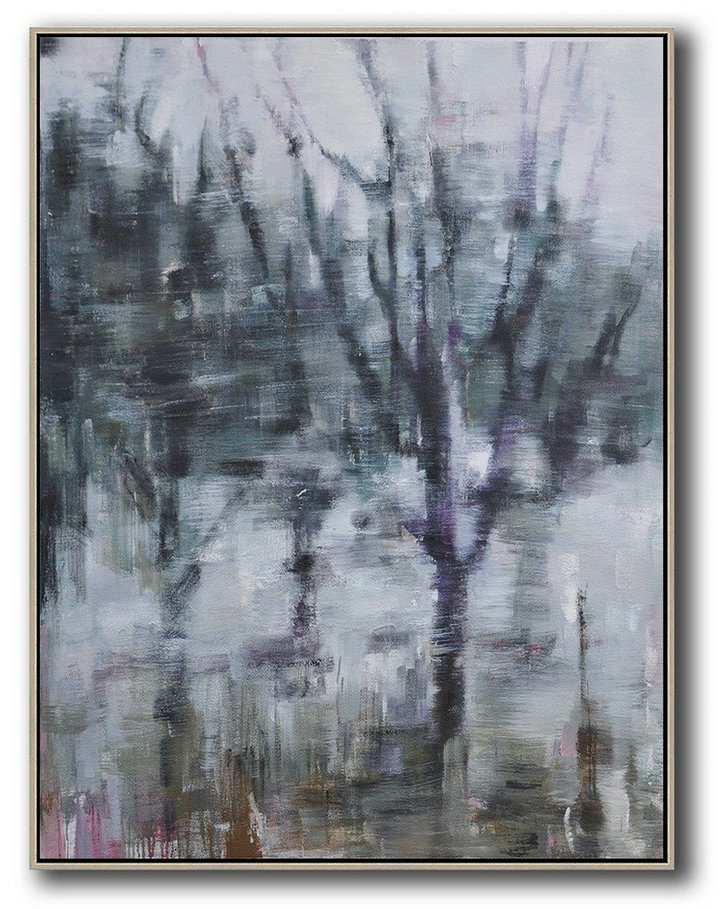 Abstract Air,Extra Large Textured Painting On Canvas,Oversized Abstract Landscape Painting,Canvas Wall Art Home Decor,Dark Green,White,Purple.etc
