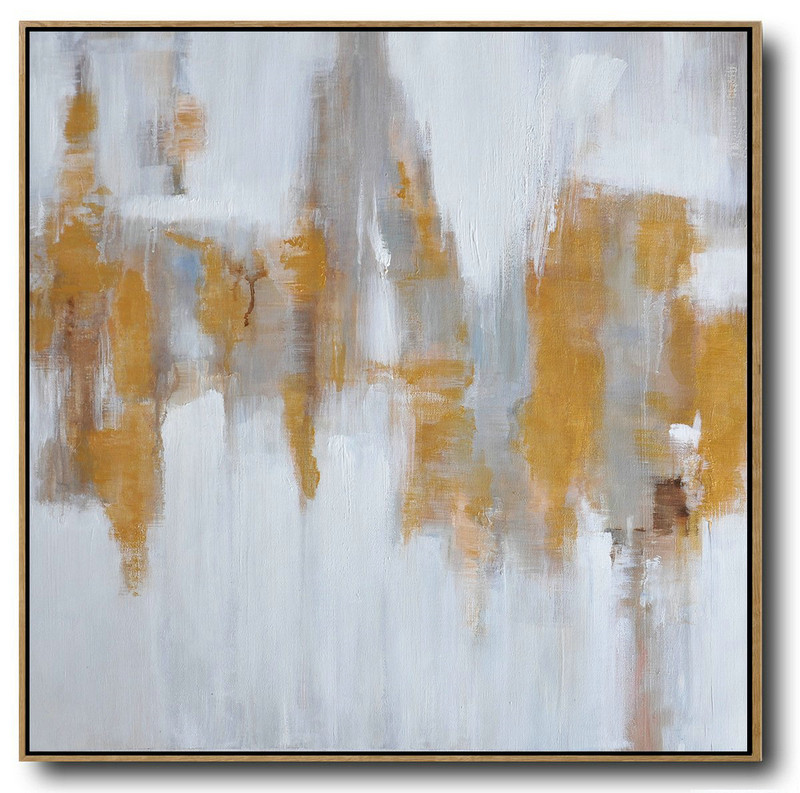 Modern Artist,Extra Large Acrylic Painting On Canvas,Large Abstract Landscape Oil Painting On Canvas,Hand Painted Original Art,White,Gray,Yellow.etc