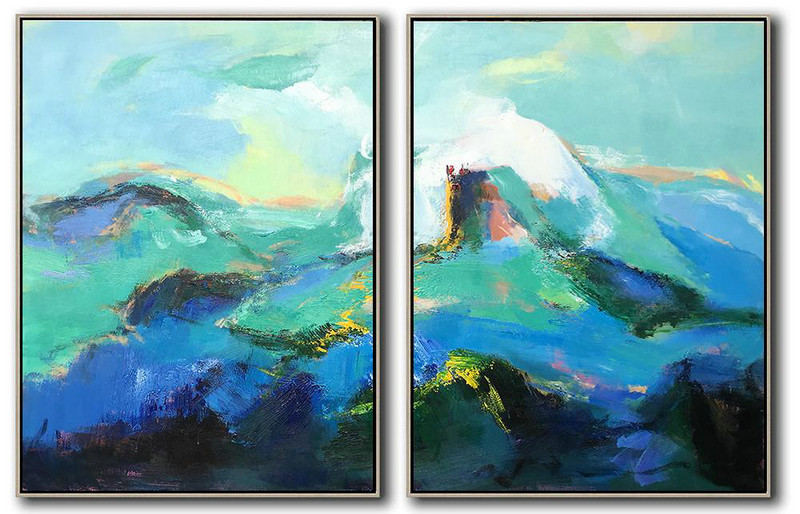 Beautiful Paintings,Hand Painted Extra Large Abstract Painting,Set Of 2 Abstract Landscape Painting On Canvas,Contemporary Art Canvas Painting,Green,Blue,Black,White.etc