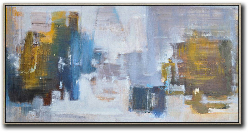 Abstract Art Prices,Large Contemporary Art Acrylic Painting,Panoramic Abstract Landscape Painting,Original Art Acrylic Painting,Yellow,Blue,White,Grey.etc