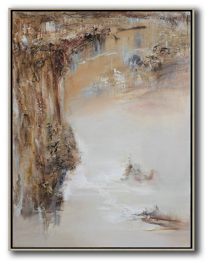 Abstract Oil Art,Large Abstract Painting Canvas Art,Abstract Landscape Oil Painting,Hand Painted Original Art,Brown,White,Grey.etc