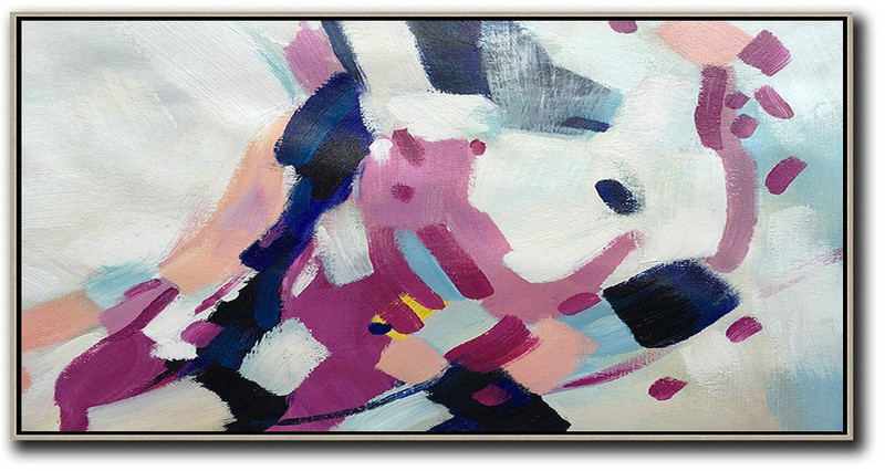 Three Abstract Artists,Large Abstract Painting,Horizontal Palette Knife Contemporary Art,Custom Canvas Wall Art,White,Nude,Purple,Dark Blue.etc