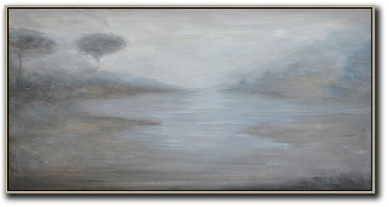 Painting Abstract Painting,Large Abstract Art,Panoramic Abstract Landscape Painting,Huge Abstract Canvas Art,Beige,White,Grey.etc