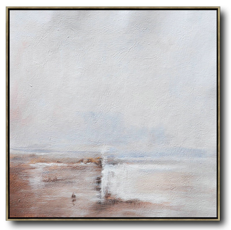 Art Projects,Handmade Extra Large Contemporary Painting,Oversized Abstract Landscape Painting,Size Extra Large Abstract Art,White,Brown,White.etc