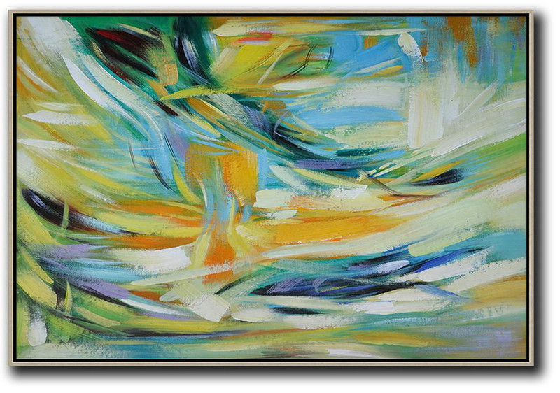 Abstract Art Paintings With Description,Large Abstract Art,Oversized Horizontal Contemporary Art,Large Wall Canvas,Yellow,Light Blue,Green,White.etc