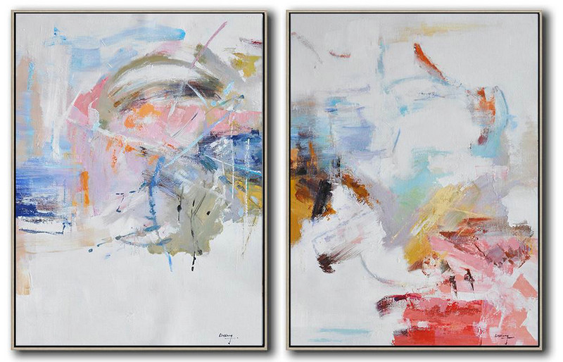 Abstract Art White,Hand Painted Extra Large Abstract Painting,Set Of 2 Abstract Oil Painting On Canvas,Modern Wall Art,White,Grey,Yellow,Pink,Red.etc