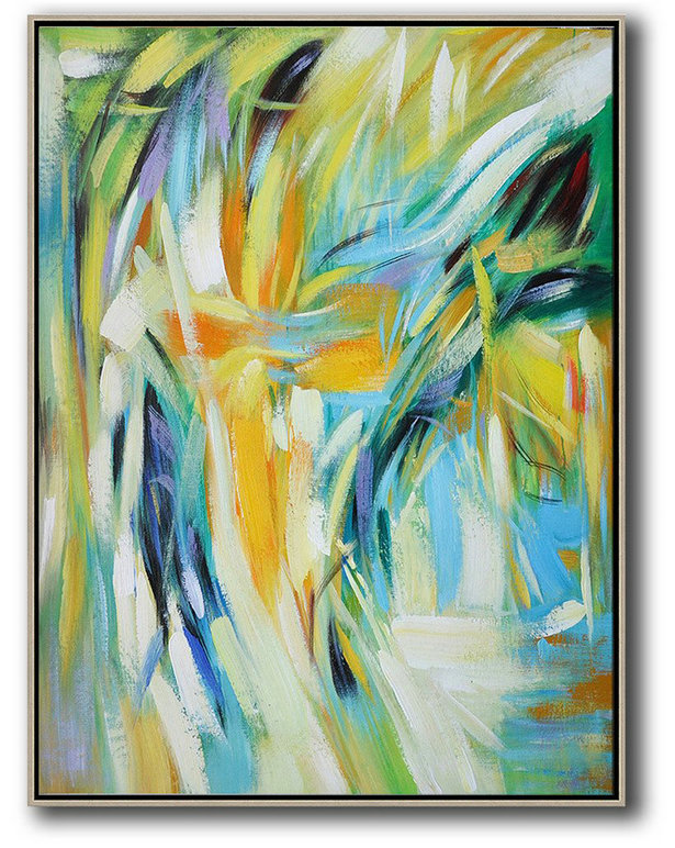 Printers For Sale,Extra Large Acrylic Painting On Canvas,Vertical Palette Knife Contemporary Art,Hand Paint Abstract Painting,Green,White,Yellow,Blue.etc