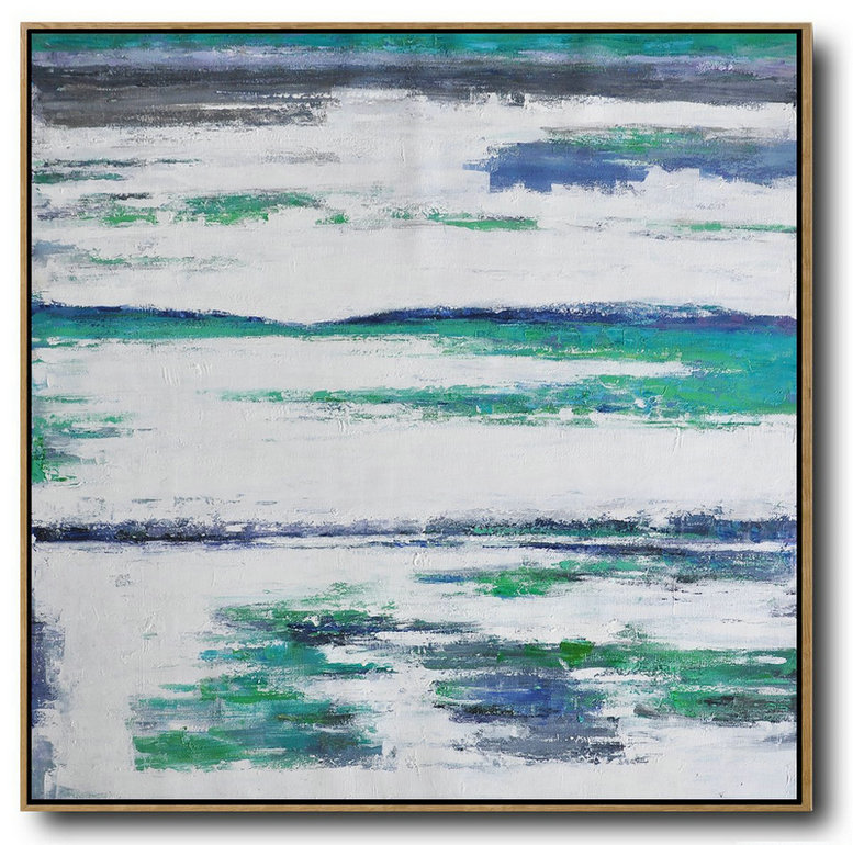 Abstract Painting Description,Original Artwork Extra Large Abstract Painting,Large Abstract Landscape Oil Painting On Canvas,Hand Painted Abstract Art,Green,White,Blue.etc