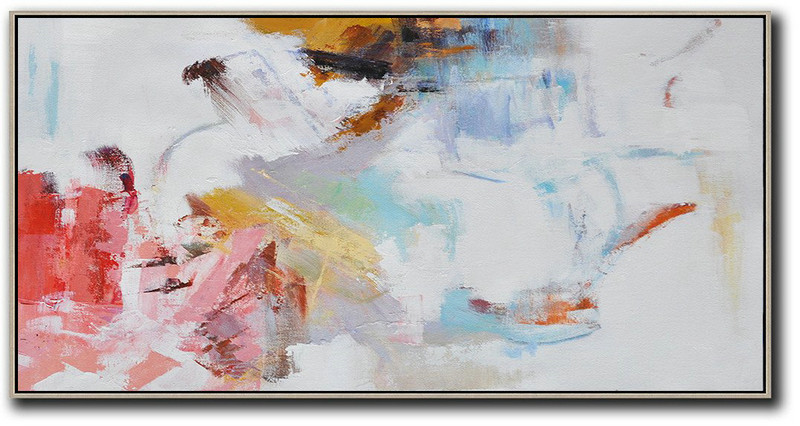 "Abstract Visual Art,Extra Large 72"" Acrylic Painting,Hand Painted Panoramic Abstract Art On Canvas,Abstract Painting Modern Art,White,Grey,Pink,Red,Earthy Yellow.etc"